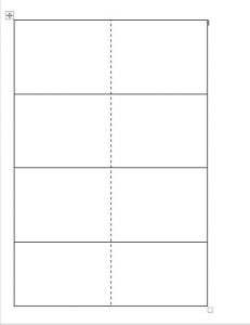 Word file with an image of a four-by-two table. A dotted line separates the two columns.