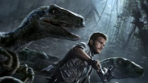 Chris Pratt leading a pack of raptors on his motorcycle. This movie is so dang cool.