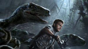 Chris Pratt leading a pack of raptors on his motorcycle. This movie is so dang cool.